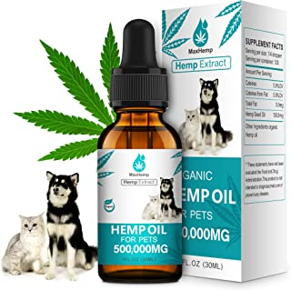 MaxHemp Organic Hemp Oil for Dogs and Cats 500 000 MG - for Pain, Anxiety, Arthritis Relief - Natural Calming Aid for Pet ...