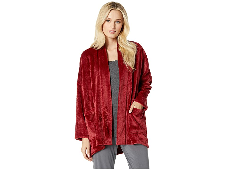 N by Natori Cashmere Feel Frosted Fleece Topper (Dark Red) Women