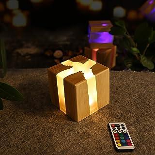 ZMH Luz Nocturna LED 3W Lámpara de Mesita de Noche, Iluminación de Ambiente Interior, USB Recargable, Control Remoto y Tactil, Cambio de 13 RGB Colores, para Niños, Dormitorio, Bar