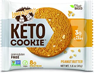 Lenny & Larry's The Keto Cookie, Peanut Butter, 1.6oz, 12Count - Vegan, Non Gmo, Low Carb & Plant Based Protein Cookies