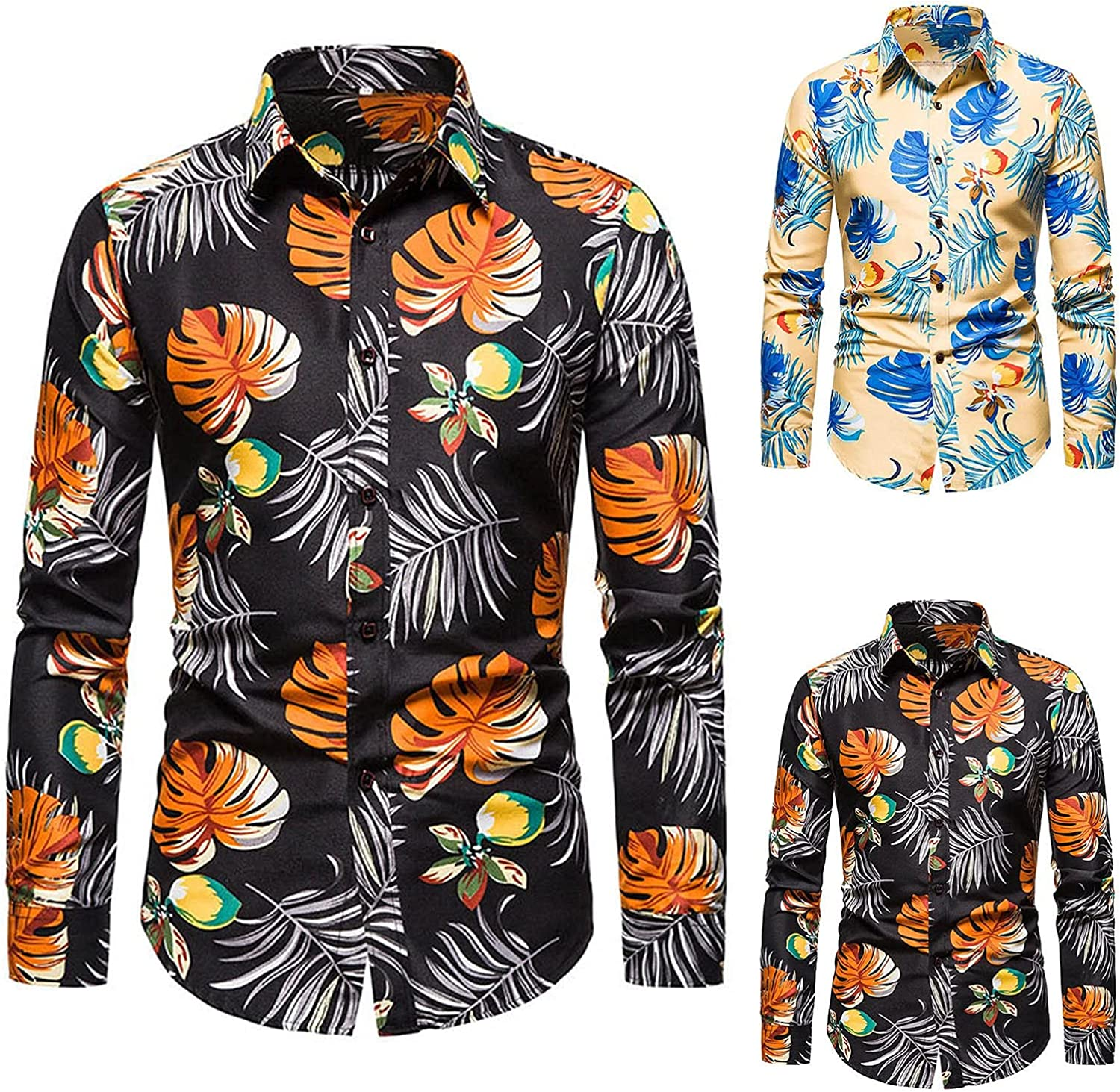 xoxing Long Sleeve for Men T-Shirt Casual Loose Cardigan Floral Print Lapel Button Quick Dry Beach T Shirts