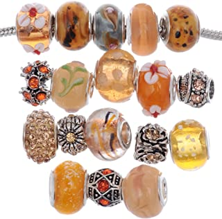 RUBYCA Murano Lampwork Charm Glass Beads Tibetan Crystal European Bracelet Mix Assortment Orange 15Pcs