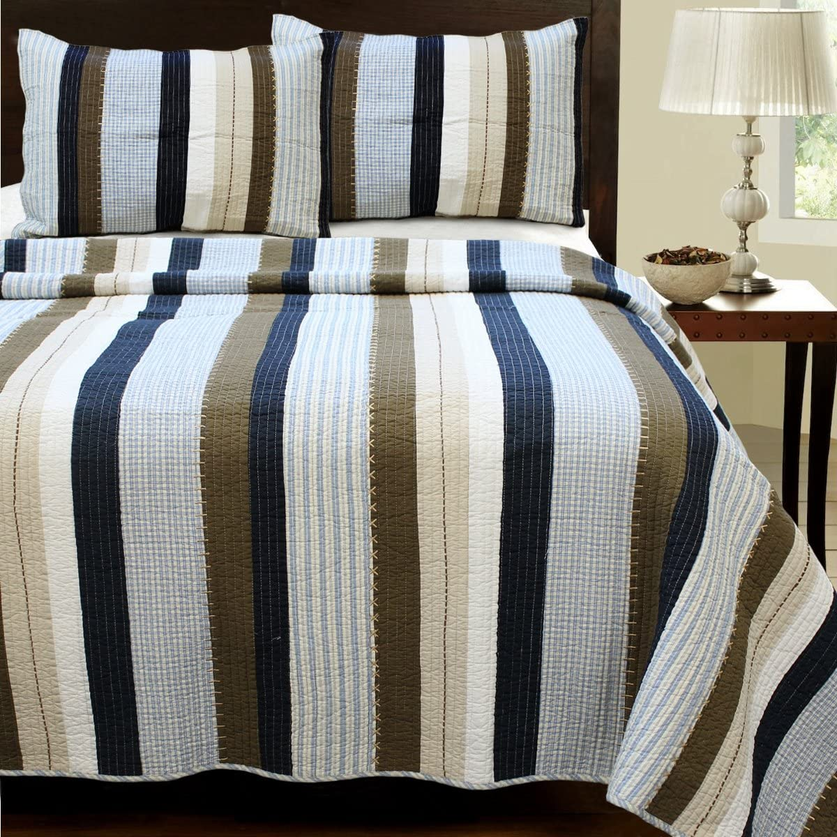Cozy Line Home Fashions Nathan Quilt Navy Bedding unisex Whit Set Overseas parallel import regular item Blue