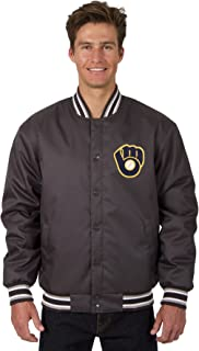 Milwaukee Brewers MLB Jacket Poly-Twill Charcoal with Embroidered Logos