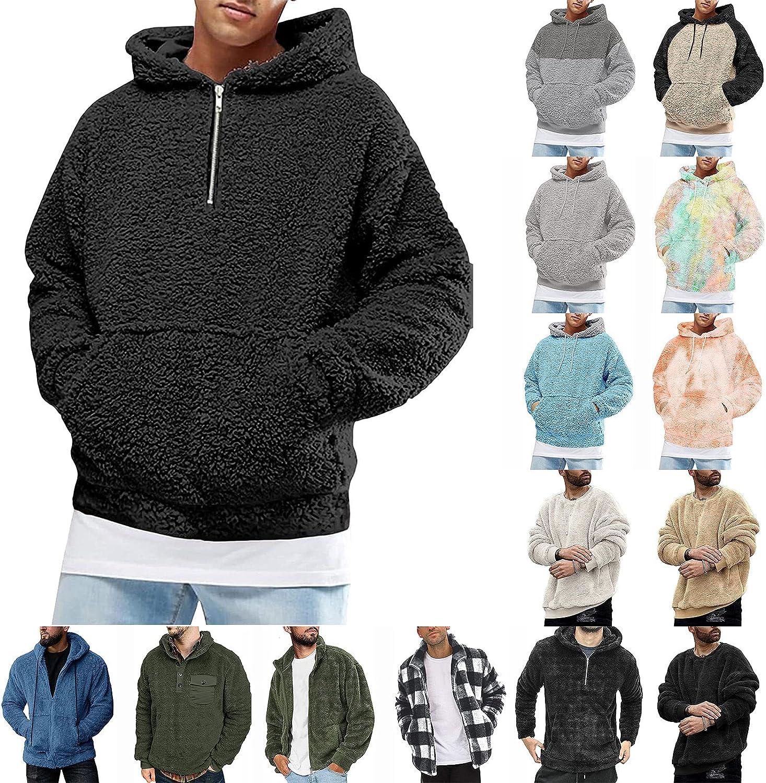 Esbelle Mens Fuzzy Sherpa Pullover Hoodie Sweatshirts Solid Long Sleeve Sport Front Pocket Casual Fall Outwear Winter Hooded
