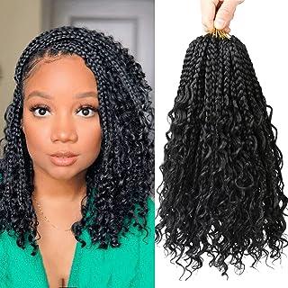 7 Packs Boho Crochet Box Braids Curly Ends 14 Inch Box Braids Crochet Hair for Black Women 3X Crochet Braids Synthetic Bra...