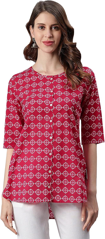 Janasya Women's Pink Cotton Tunic
