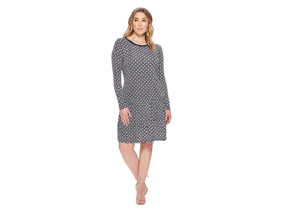 MICHAEL Michael Kors Plus Size Rope Geo T-Shirt Dress (True Navy/White) Women