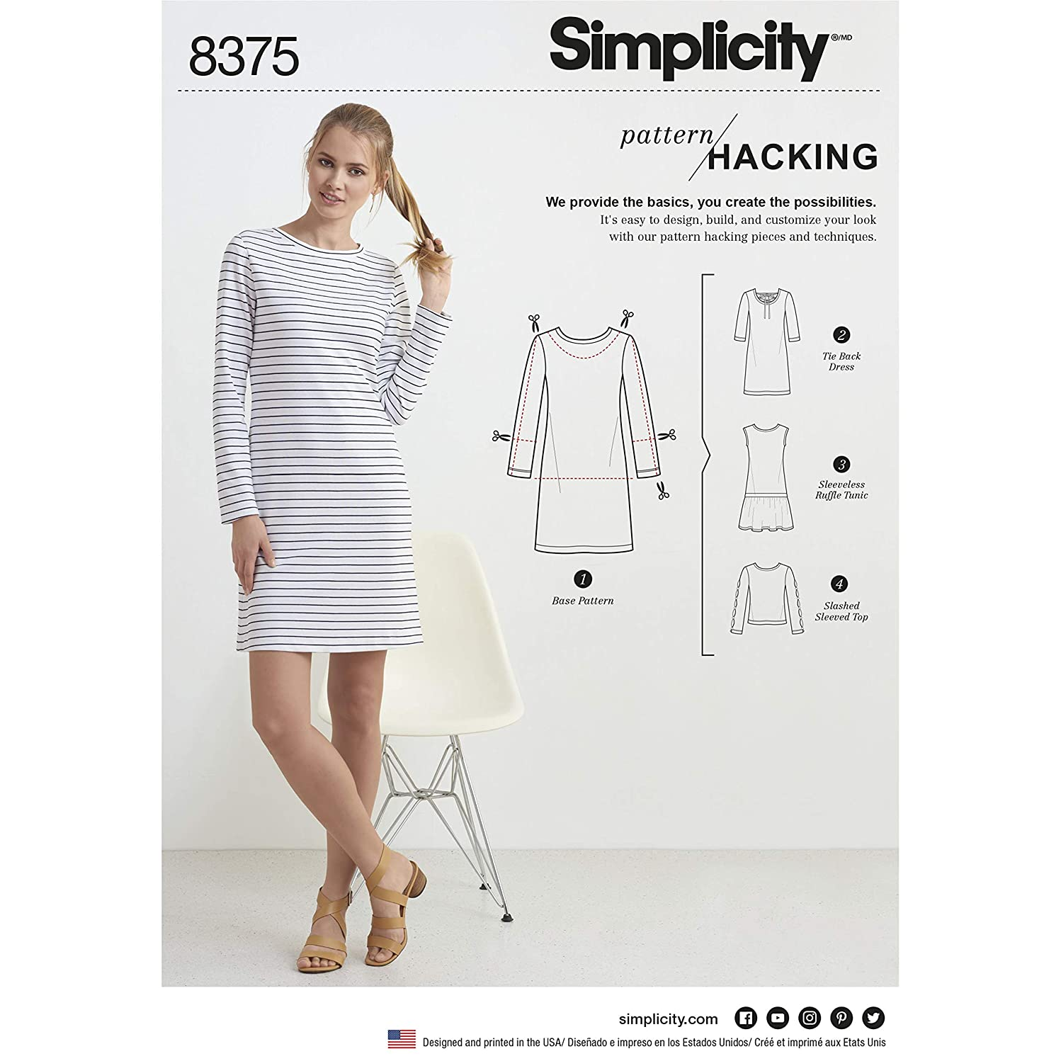 Simplicity Sewing Pattern D0946 / 8545 - Misses Knit Dress or Top with Multiple Pattern Pieces for Design Hacking, A (XXS-XS-S-M-L-XL-XXL)
