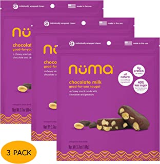 Healthy Chocolate Milk Candy - Low Calorie, Low Sugar, All Natural Chewy Snack with Peanuts, 3g Protein per Serving, Gluten Free - 3 Bags with 24 Individually Wrapped Chews Total