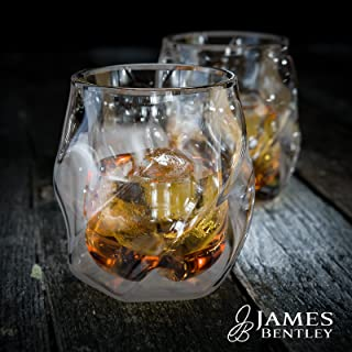 James Bentley Whiskey Glasses set+FREE Sphere Ice Ball Mold x2 for whisky glasses set,Set of 2,Unique Tumblers for Drinking Scotch,Bourbon,Brandy,Liquor,Bar set,double wall luxury whiskey glass