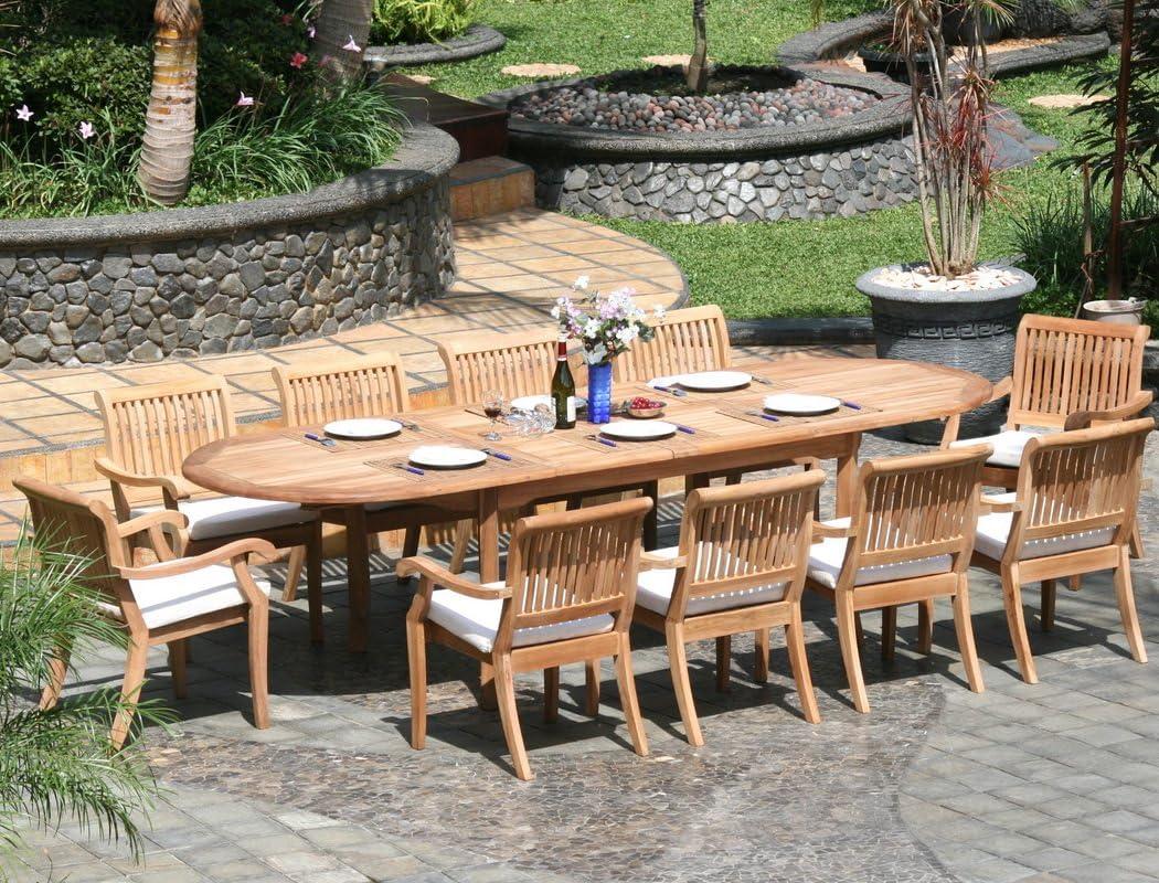 WholesaleTeak New 9 Pc Luxurious Grade A Teak Dining Set   Large 97