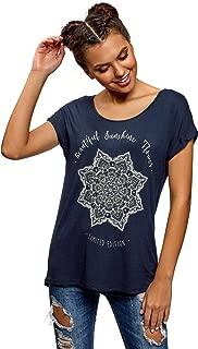 oodji Ultra Damen Viskose-T-Shirt mit Druck