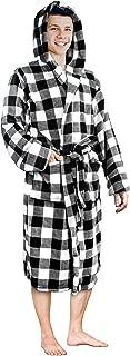 PAVILIA Luxurious Men's Robe Warm Hooded Fleece Bathrobe Spa Robe