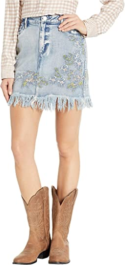 Louisa Embroidered Denim Skirt