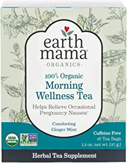 Earth Mama Organic Morning Wellness Tea Bags for Occasional Morning Sickness, 16-Count (5-Pack)