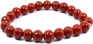 Neerupam Collection Gemma di diaspro rosso naturale perline da di forma tonda braccialetto