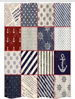 Ambesonne Nautical Stall Shower Curtain, Maritime and Nautical Life Design with Vintage Sailor Knot Anchor Motifs, Fabric Bathroom Decor Set with Hooks, 54