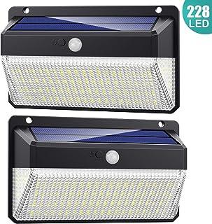 228 LED Luz Solar Exterior, AOPAWA [ 2200mAh Potente ] Foco Solar led con Sensor de Movimiento Luces Solares Exterior Gran Ángulo 270ºde Iluminación Lámpara Solar Impermeable para Jardín 2-Paquete