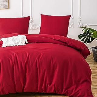 MOHAP Sets de Housse de Couette 220x240cm+2 taies d'oreillers 65x65cm Parure de Lit 2 Personnes Rouge