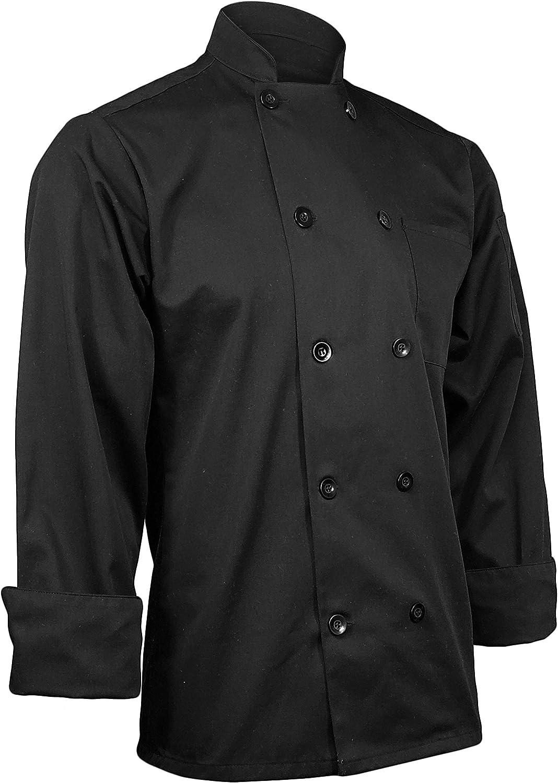 ChefsCloset Unisex Long Sleeve Button Black Chef Jacket Extra Small Chef Coat