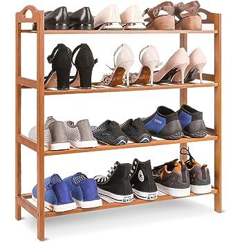 4//6 Tiers Wood Bamboo Shelf Entryway Storage Shoe Rack Organizer Home Furniture