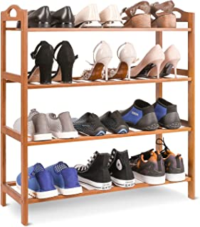 HOMFA Bamboo Shoe Rack 4-Tier Entryway Shoe Shelf Storage Organizer for Home & Office Easy to Assemble