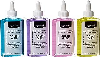 AmazonBasics Washable Translucent Color Liquid School Glue, Assorted Colors, 148 mL Bottle, 4-Count