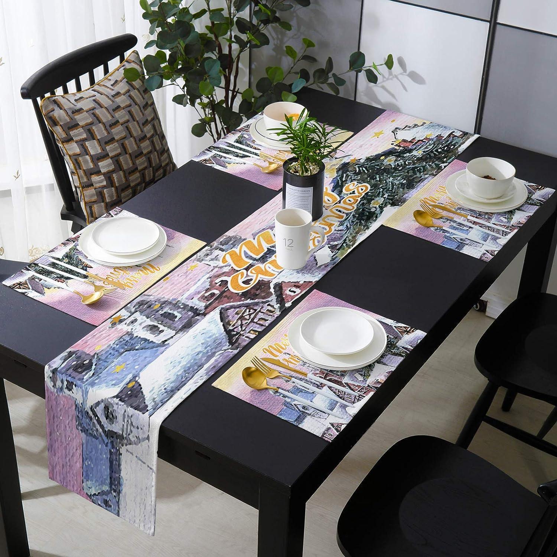 Seven Roses New sales Christmas Snow Scene Linen Illustration Max 86% OFF Burlap Table