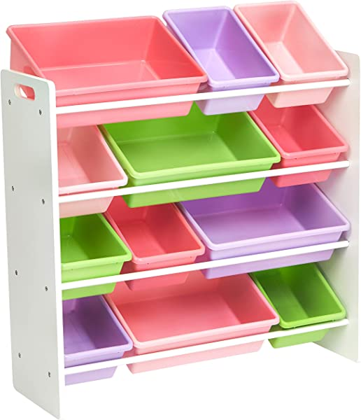 AmazonBasics Kids Toy Storage Organizer Bins White Pastel