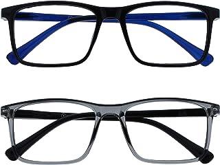 Opulize Ink 2 Stuks Leesbril Groot Zwart Grijs Mannen Vrouwen Scharnieren Met Veer RR4-17 +2,00