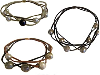 Tahitian Pearl Multi-Strand Necklaces Suede Cords-Elegant Magnetic Clasp. One has Chinese Freshwater Pearls. Black Brown Taupe Tan Grey Gray