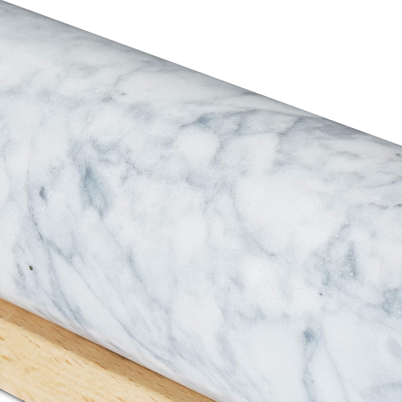 Griffe aus Holz mit Ablage 48 cm wei/ß Teigroller zum Kochen /& Backen Relaxdays Nudelholz Marmor schwere Backrolle
