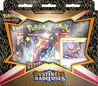 Toys Coffret Pokemon destinees radieuses : sapereau - Version française - Carte a Collectionner Pokemon et pin s - Edition...