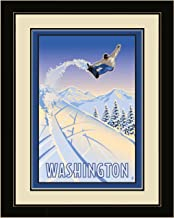 لوحة فنية جدارية مؤطرة من Northwest Art Mall PB-6714 LFGDM SBA Washington Snowboarder Air ، 20 × 26