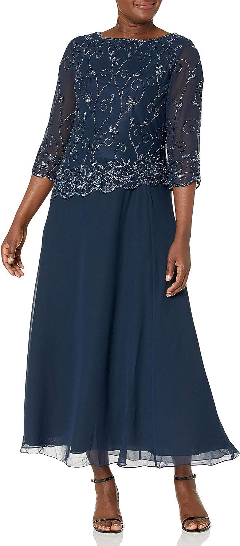 J Kara Women's Petite Beaded Scallop Bodice Asymmetrical Gown
