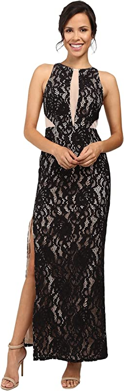 Long Stretch Lace Halter Gown w/ Illusion Detail