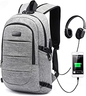 Travel Laptop Backpack, AMBOR 15.6-17.3 Inch Anti Theft Business Backpack with USB Charging Port and Headphone Interface,L...