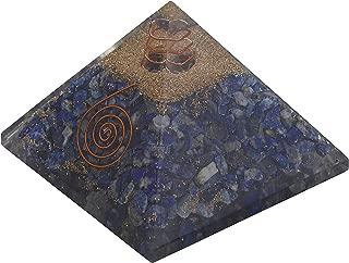Crocon Lapis Lazuli Orgone Pyramid Gemstone Yoga Energy Generator for Reiki Healing Chakra Tapestry Spiritual Gift Meditation Decor Size: 3-3.5 Inch