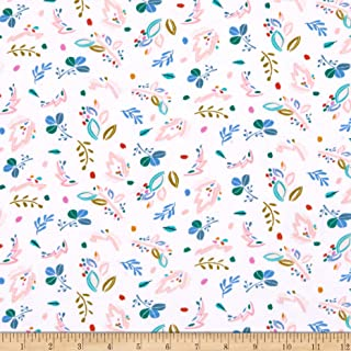 Dear Stella Knit Abstract Floral White Fabric by the Yard