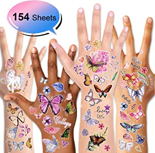 Konsait Kids Tattoos Butterfly Temporary Tattoos Sticker for Girls Children's Birthday Party Bag Filler Gift Idea Party Favors, 154 Pcs Kids Unicorn Butterfly Flower Girls Tattoos
