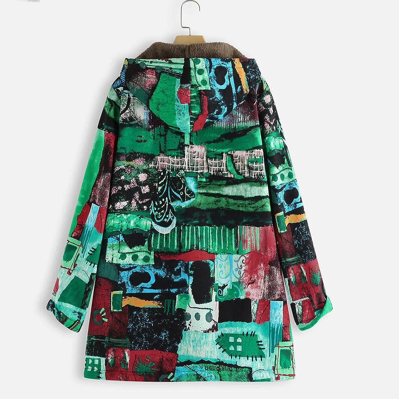 AKAIDE Dicke Baumwolle Jacke für Damen Farbenfrohe Herbst und Winterwärme Weiche Kapuzenjacke mit Langen Ärmeln Mantel Grün