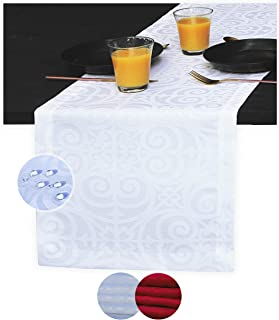 White Table Runner 108 inch, Waterproof Dresser Scarf, Outdoor Coffee Table Runner, Elegant Jacquard Dining Table Runners ...