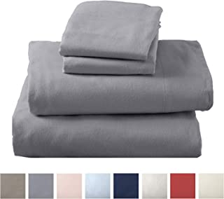 Extra Soft 100% Turkish Cotton Flannel Sheet Set. Warm, Cozy, Lightweight, Luxury Winter Bed Sheets in Solid Colors. Nordic Collection (Twin XL, Frost Grey)