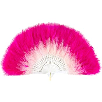 BABEYOND Roaring 20s Vintage Style Folding Handheld Flapper Marabou Feather Hand Fan for Costume Halloween Dancing Party Tea Party Variety Show (Y-Pink and Rose Red)