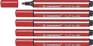 Rotulador escolar ergonómico triangular con sistema de amortiguación en la punta STABILO Trio Scribbi - Caja con 5 unidades - Color rojo