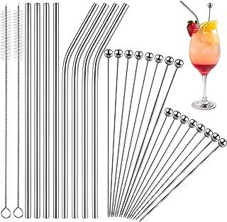 Set di 26 Stuzzicadenti da Cocktail e Cannucce 16 Bastoncini di Aperitivi in Acciaio Inox Plettri Cocktail da 8 Pollici 4,3 Pollici 8 Cannucce da 8,5 Pollici e 2 Pennelli Argento