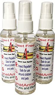 Gnat Armor DEET Free All Natural Insect Repellent 2oz. Bottle (3) Safe for Children and Pets! Repels Gnats, Mosquitoes, Black Flies, and Many More! Smells Great