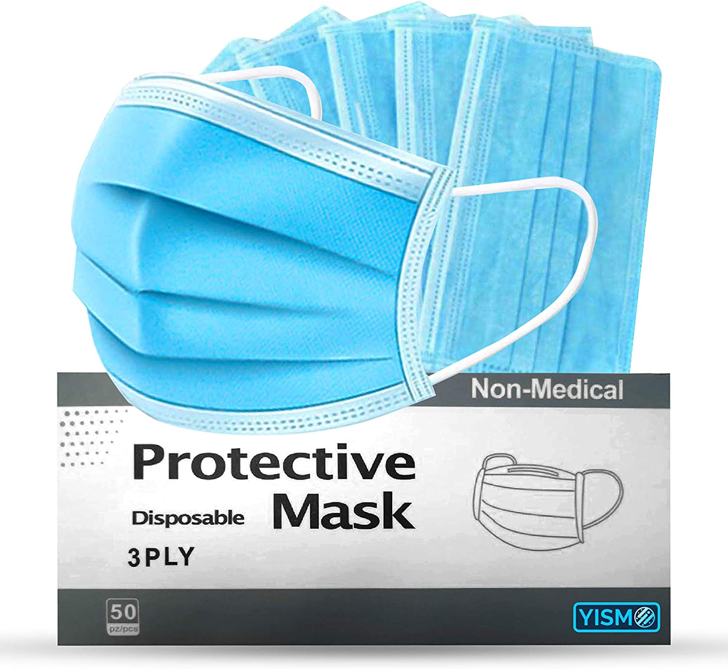 Yismo 3 ply Disposable Germ Ranking TOP5 Super-cheap Dust Face Masks Protection Earloop M