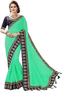 Women's Satin Heavy-Embroidery work sari With Blouse piece K808